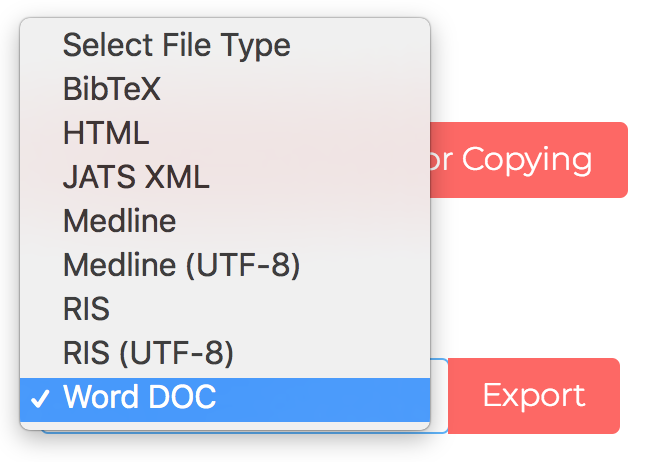 Screenshot of the Edifix Export References drop-down with Word DOC selected