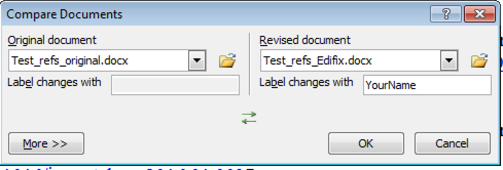 Screenshot of the Word Compare dialog, with original and revised documents selected