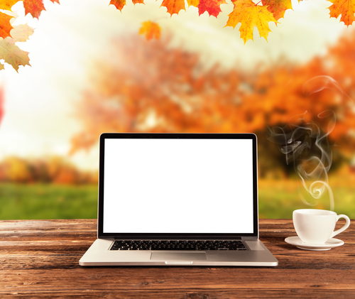 Computer on a table with autumn leaves in the background