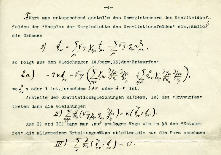 A typed manuscript in German with hand-written display and inline math equations